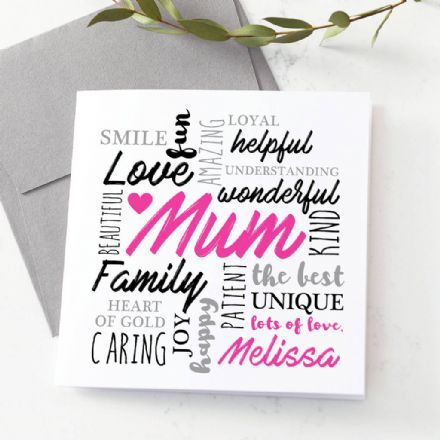 Personalised Mum Word Art Card